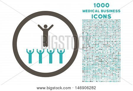 Religion Adepts rounded glyph bicolor icon with 1000 medical business icons. Set style is flat pictograms, grey and cyan colors, white background.