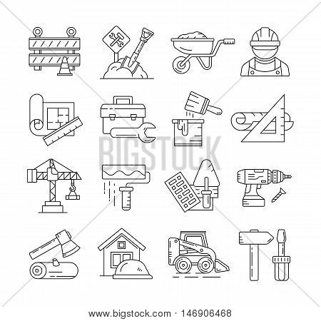 Construction line icons or building thin line signs vector. Construction building and equipment for construction illustration