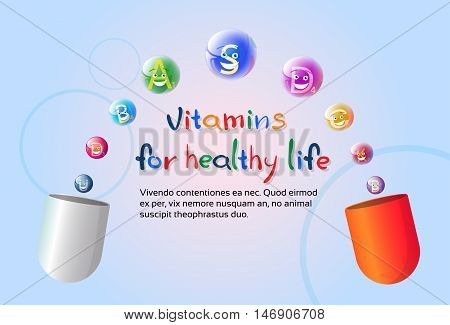 Capsule With Vitamins Nutrient Minerals Colorful Banner Healthy Life Nutrition Chemistry Element Concept Flat Vector Illustration