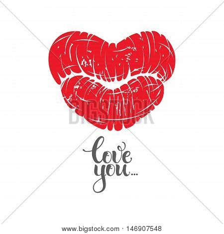 Vector print of woman lips kiss in heart shape with love message