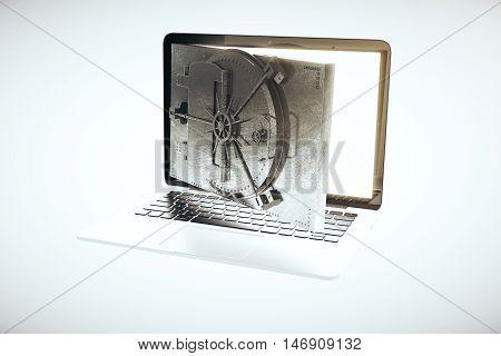 Online banking concept with open bank vault door instead of laptop computer screen on light background. 3D Rendering