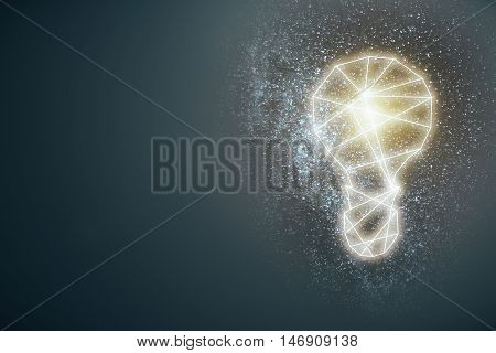 Abstract lightbulb on grey background with copy space. Idea concept. 3D Rendering