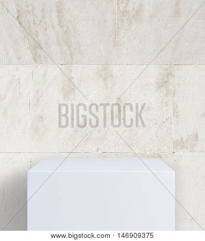 Empty white stand on concrete tile background. Mock up 3D Rendering