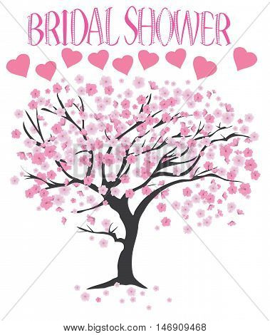 vector illustration of a bridal shower with cherry tree