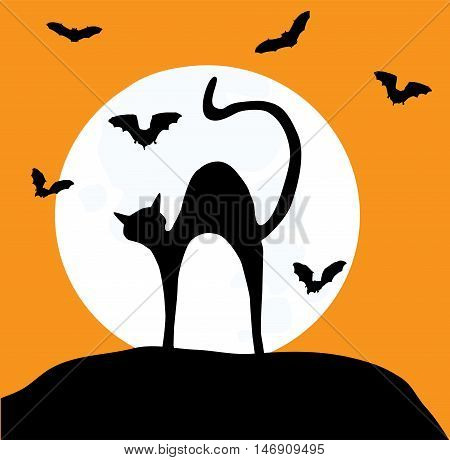 vector illustration of a cat and bats silhouettes in the moon background