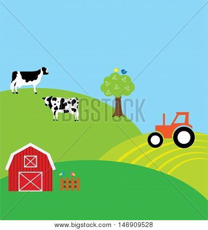 vector illustration of a farm background with cows