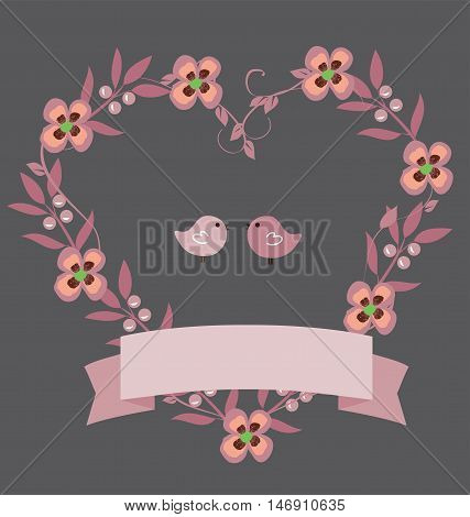 vector illustration of a floral wedding wreath with birds