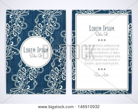 Cover design with hatched ornament. Retro style. Brochure flyer invitation or book cover. Size a4. Vector illustration eps10