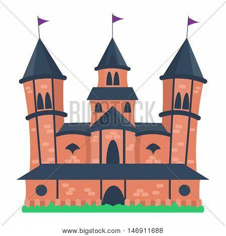 Cartoon fairy tale castle tower icon. Cute cartoon castle architecture. Vector illustration fantasy house fairytale medieval castle. Princess cartoon castle cartoon stronghold design fable isolated poster