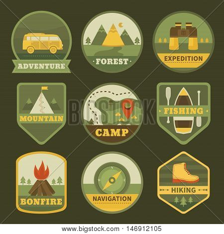 Set of vintage camping logos. Adventure outdoors badges collection: mountains, compass, boat, forest, binoculars and minibus. Hiking and traveling vector emblems. Templates for label design.