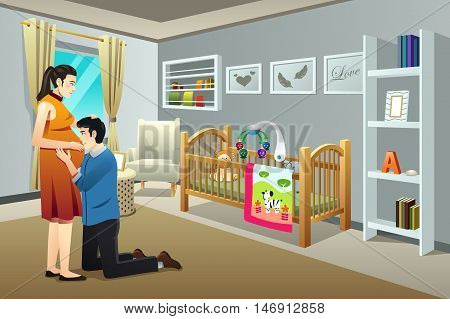A vector illustration of a Pregnant Woman with Her Husband in the Nursery Room