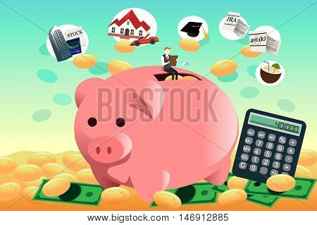 A vector illustration of future financial planning concept