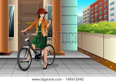 A vector illustration of a woman looking at her phone while riding a bike