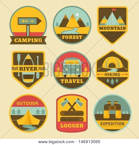 Set of vintage camping logos. Adventure outdoors badges collection: mountains, tent, boat, forest, binoculars and minibus. Hiking and traveling vector emblems. Templates for label design.