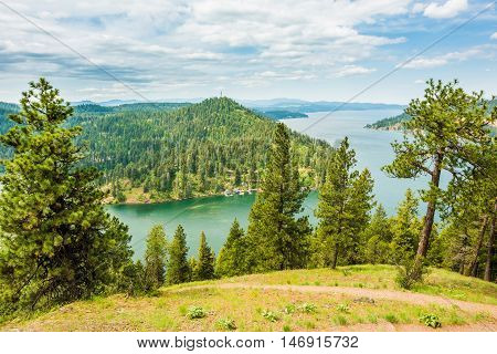 View of Coeur d'Alene lake from mountains with pine trees in Idaho from Mineral Ridge trail