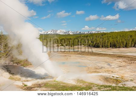 Steamboat geyser in Norris Basin in Yellowstone National Park with hot steam, vapor, blue hot springs and mountains