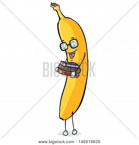 Vector Cartoon Character - Nerd Banana. Back To School.