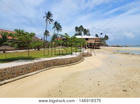 Panorama of Bintan island, low tide on Trikora beach, Indonesia