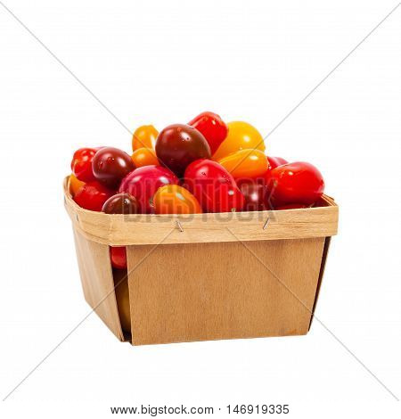 Cherry Tomato Mixed Medley Isolated on white. Selective focus.