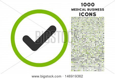 Yes rounded vector bicolor icon with 1000 medical business icons. Set style is flat pictograms, eco green and gray colors, white background.