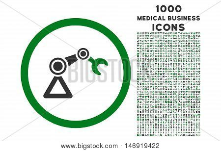 Artificial Manipulator rounded vector bicolor icon with 1000 medical business icons. Set style is flat pictograms, green and gray colors, white background.