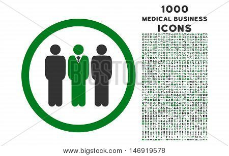 Clerk Staff rounded vector bicolor icon with 1000 medical business icons. Set style is flat pictograms, green and gray colors, white background.