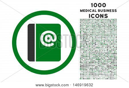 Emails rounded vector bicolor icon with 1000 medical business icons. Set style is flat pictograms, green and gray colors, white background.