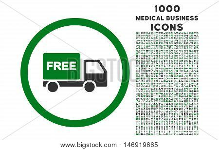 Free Delivery rounded vector bicolor icon with 1000 medical business icons. Set style is flat pictograms, green and gray colors, white background.
