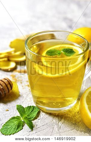 Warming Ginger Tea With Lemon And Mint.