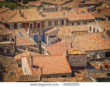 The roofs of the old town of Sommieres in France