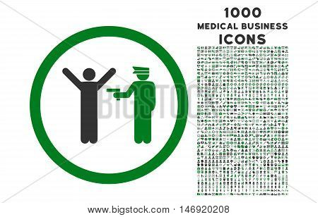 Police Arrest rounded vector bicolor icon with 1000 medical business icons. Set style is flat pictograms, green and gray colors, white background.