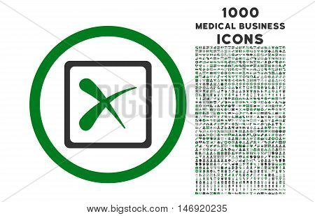 Reject rounded vector bicolor icon with 1000 medical business icons. Set style is flat pictograms, green and gray colors, white background.