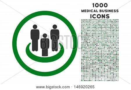 Social Group rounded vector bicolor icon with 1000 medical business icons. Set style is flat pictograms, green and gray colors, white background.