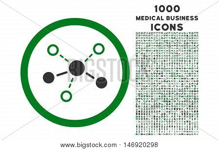 Structure rounded vector bicolor icon with 1000 medical business icons. Set style is flat pictograms, green and gray colors, white background.