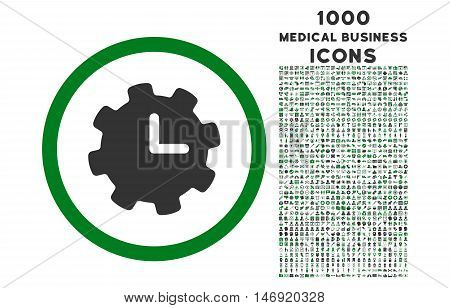 Time Settings rounded vector bicolor icon with 1000 medical business icons. Set style is flat pictograms, green and gray colors, white background.