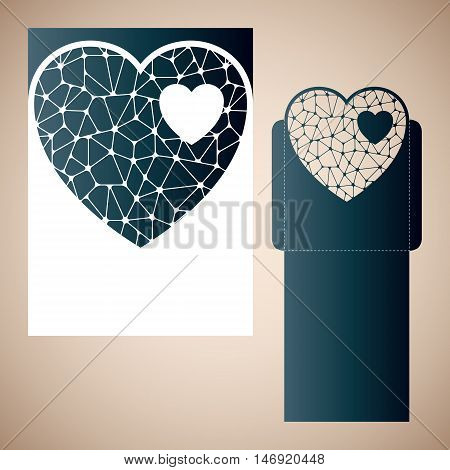 Openwork heart with gossamer. Laser cutting template for wedding envelopes and invitations.