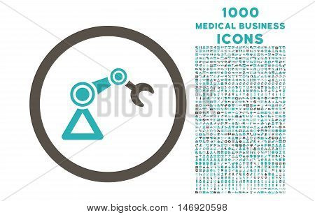 Artificial Manipulator rounded vector bicolor icon with 1000 medical business icons. Set style is flat pictograms, grey and cyan colors, white background.