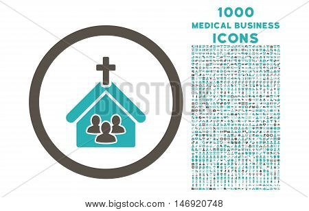 Church rounded vector bicolor icon with 1000 medical business icons. Set style is flat pictograms, grey and cyan colors, white background.