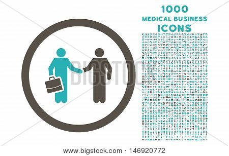 Contract Meeting rounded vector bicolor icon with 1000 medical business icons. Set style is flat pictograms, grey and cyan colors, white background.