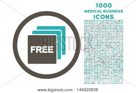 Free rounded vector bicolor icon with 1000 medical business icons. Set style is flat pictograms, grey and cyan colors, white background.