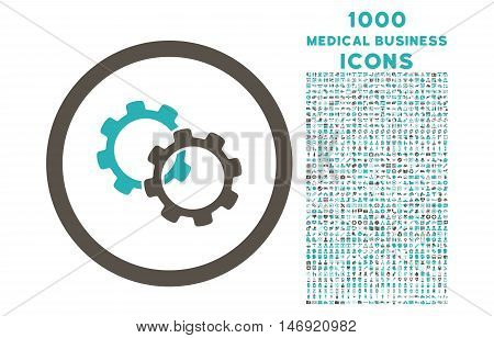 Gears rounded vector bicolor icon with 1000 medical business icons. Set style is flat pictograms, grey and cyan colors, white background.