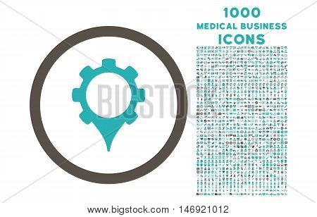 GPS Settings rounded vector bicolor icon with 1000 medical business icons. Set style is flat pictograms, grey and cyan colors, white background.