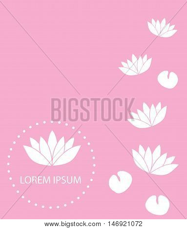 vector illustration of lotus flowers on pink background