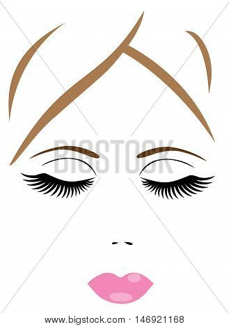 vector illustration of a woman face with eyes closed