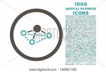 Molecule rounded vector bicolor icon with 1000 medical business icons. Set style is flat pictograms, grey and cyan colors, white background.
