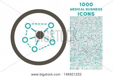 Molecule Links rounded vector bicolor icon with 1000 medical business icons. Set style is flat pictograms, grey and cyan colors, white background.