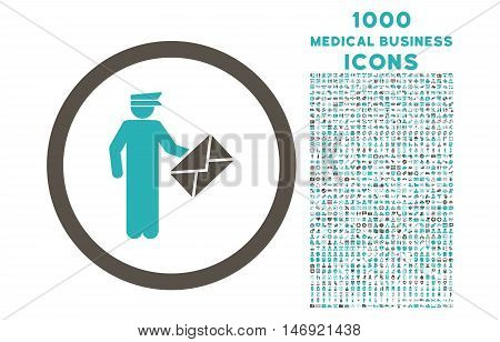Postman rounded vector bicolor icon with 1000 medical business icons. Set style is flat pictograms, grey and cyan colors, white background.