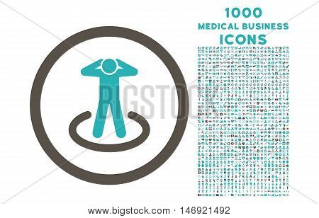 Prisoner rounded vector bicolor icon with 1000 medical business icons. Set style is flat pictograms, grey and cyan colors, white background.