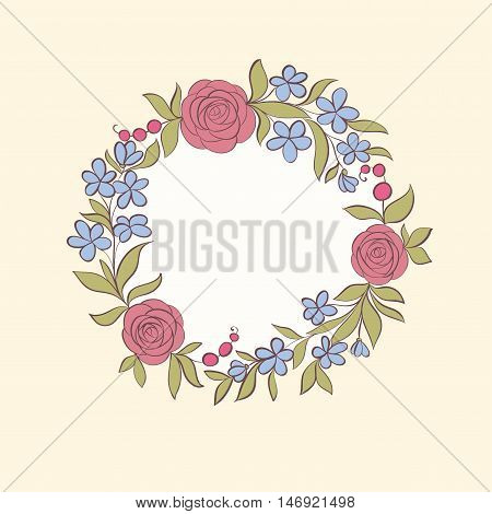 Beautiful greeting card of floral wreath. Hand-drawn background for greeting cards and invitations of the wedding birthday mother's Day and other holiday and cute summer background.