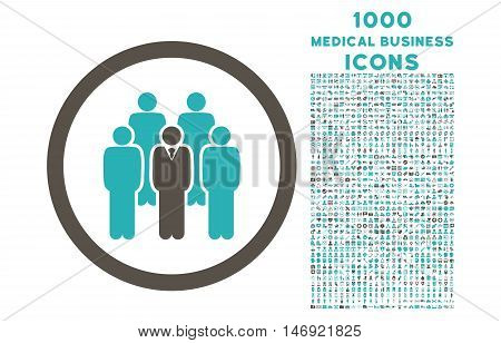Staff rounded vector bicolor icon with 1000 medical business icons. Set style is flat pictograms, grey and cyan colors, white background.